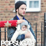 Tom Sturridge carried his daughter, Marlowe Sturridge.
