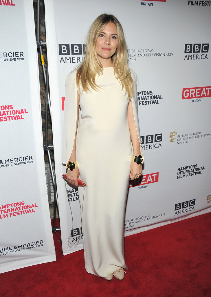 Sienna Miller let the creamy hue and body-conscious silhouette speak for itself in this red-carpet ensemble. 9450664