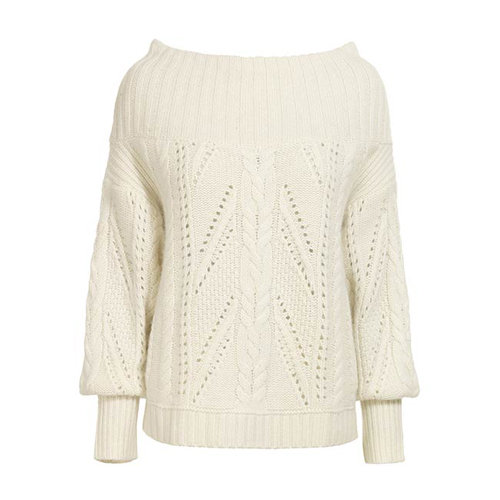 Layer this Reiss Ellen round-neck cropped cable-knit sweater ($85, originally $285) over a matching slinky slip dress and statement sandals for a Winter wonderland getup.