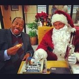 Leslie David Baker and Brian Baumgartner goofed around on the holiday set of The Office. Source: Instagram user angelakinsey