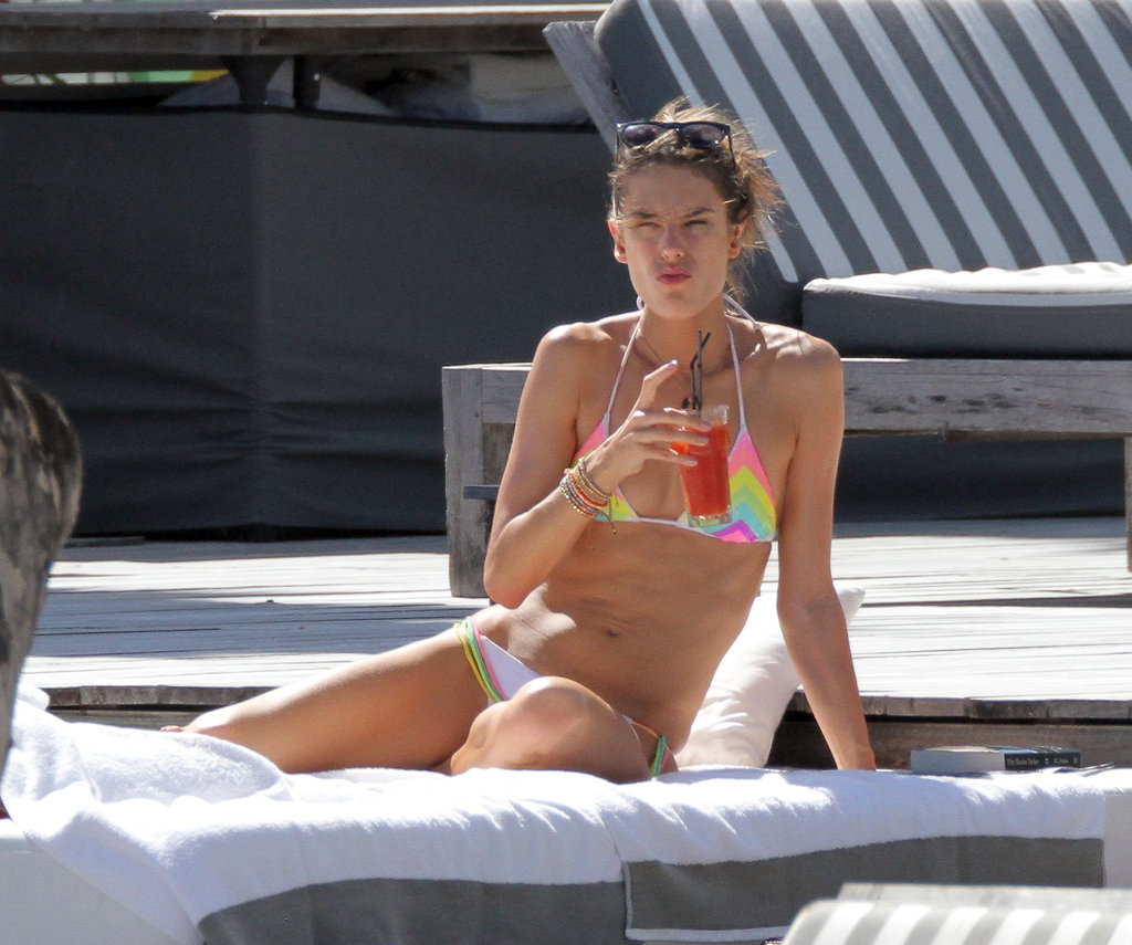 Alessandra Ambrosio sipped a beverage.