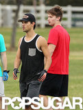 Taylor Lautner and Patrick Schwarzenegger played a friendly game of football.