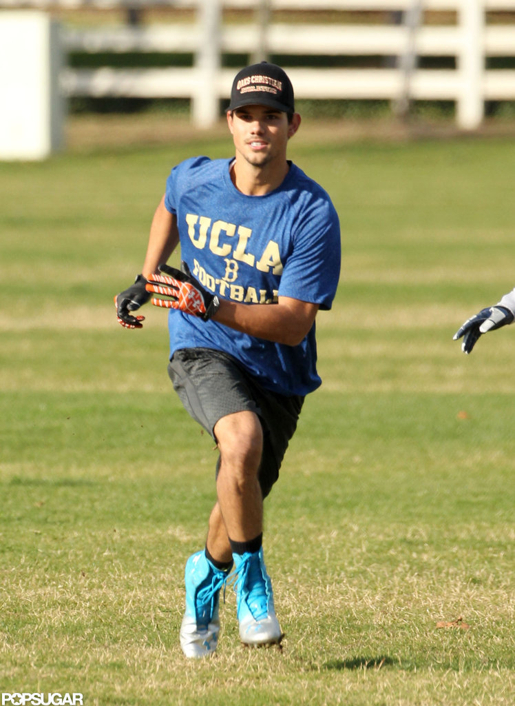 Taylor Lautner wore a UCLA football t-shirt.