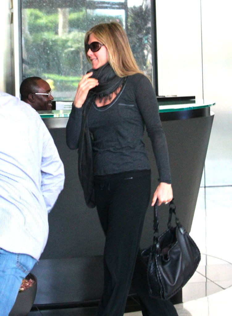 Jennifer Aniston was in a happy mood on her way to the spa.