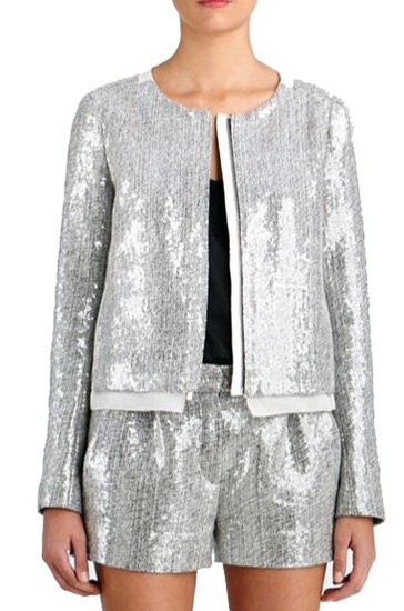 What's better than tweed and sequins together, especially around the holidays? Celebrate the season in this festive Diane von Furstenberg crystal sequined tweed jacket ($498) by pairing it with slick black trousers and red pumps.