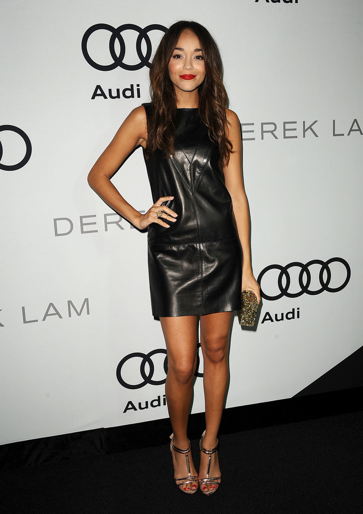 Ashley Madekwe's Derek Lam leather shift was a total showstopper; we love how she gave it some extra punch with a pair of Topshop heels and a glittery Edie Parker clutch.