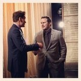 Conan O'Brien greeted guest Chris Pratt before his appearance on the show. Source: Instagram user teamcoco