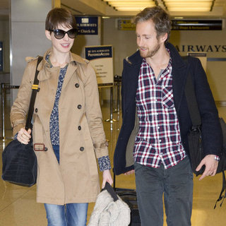 Anne Hathaway and Adam Shulman Leaving JFK | Pictures