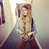 Beth Behrs posed in a fur Spirit Hood. Source: Twitter user BethBehrs