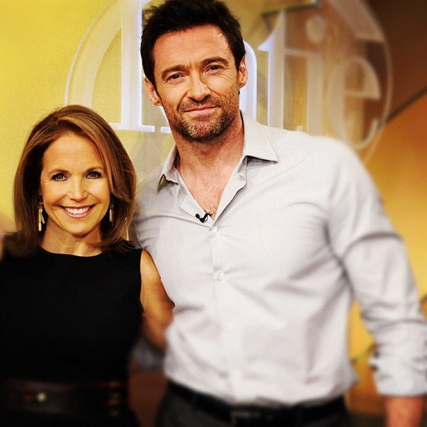 Hugh Jackman took a minute to pose with Katie Couric on the set of her show. Source: Twitter user katiecouric
