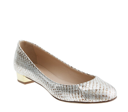 Remember, you don't have to go with sky-high heels to make a statement; this pair of J.Crew Collection Janey Snakeskin Flats ($298) adds a dose of eye-catching shine in a very chic little silhouette.