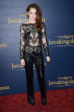 Kristen Stewart made waves (and then some) with this embellished peekaboo jumpsuit by Zuhair Murad at the London premiere of Breaking Dawn Part 2. We're pretty sure people are still on the fence about this one.