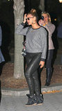 During a night out in NYC, Beyoncé got superslick with a pair of Isabel Marant high-top kicks, leather leggings, a slouched sweatshirt, and oversize hoop earrings.