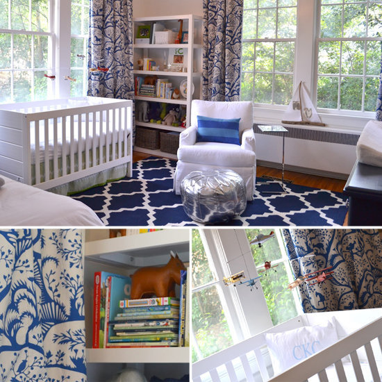 A Sophisticated, Glam Navy-and-White Nursery For a Baby Boy