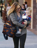Hilary Duff smiled at her baby, Luca.