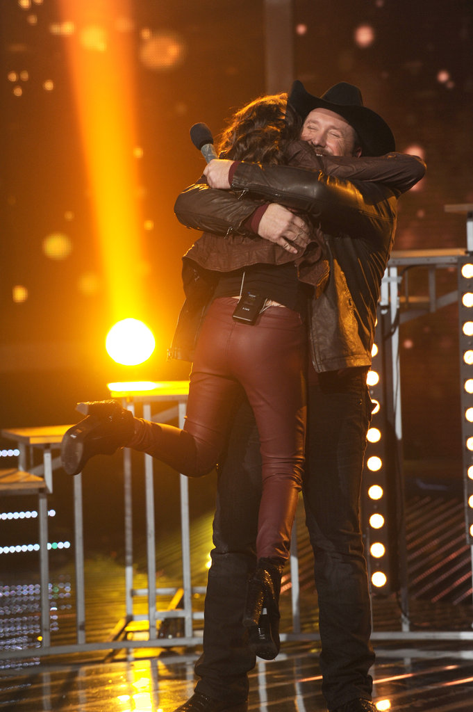 Tate Stevens hugged Carly Rose Sonenclar after they performed together.