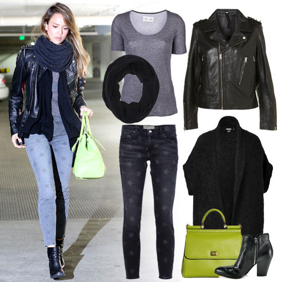 Jessica Alba Wearing a Studded Leather Jacket | Pictures | POPSUGAR Fashion
