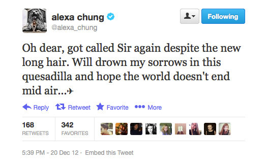 Poor Alexa Chung, sounds like she's having an identity crisis!