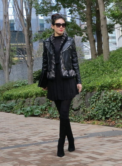 Dressing up a black dress -layering up with leather and fur for winter