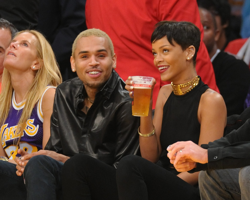 Rihanna and Chris Brown Go Public With PDA at Christmas Lakers Game