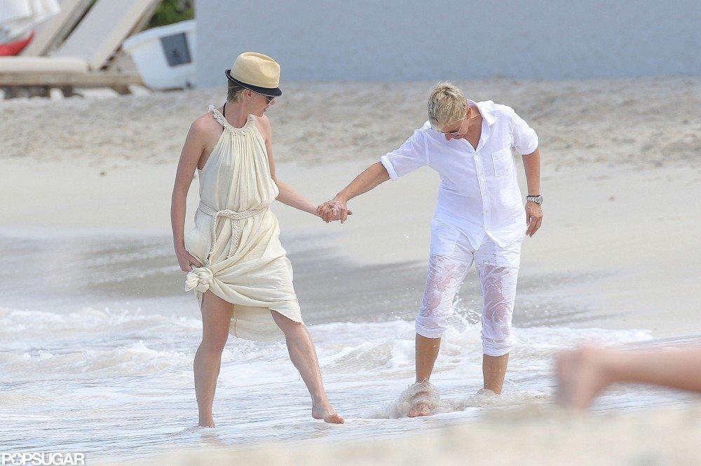 Ellen DeGeneres and Portia de Rossi Show PDA in St. Barts