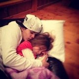Justin Bieber cuddled with his little sister. Source: Instagram user justinbieber