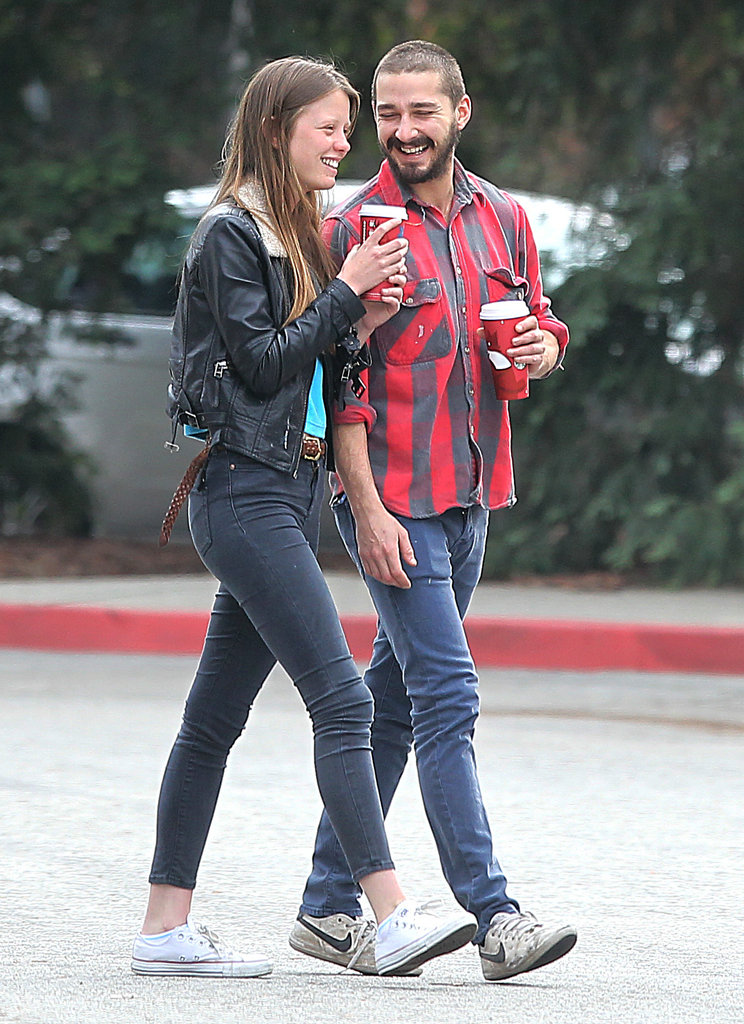 Shia LaBeouf and Mia Goth laughed together in LA.