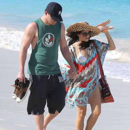 Channing Tatum and his pregnant wife Jenna Dewan took a walk along the beach in St. Bart's today.