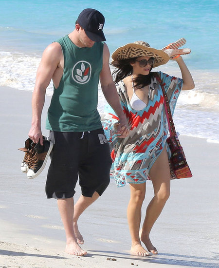 Channing Tatum Walks on the St. Barts Beach With Pregnant Jenna Dewan