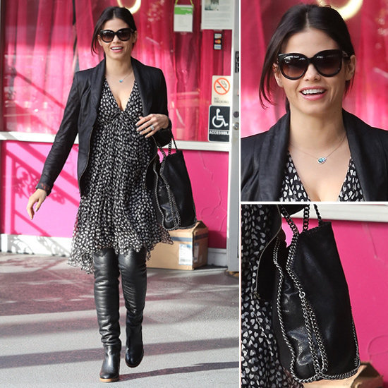 Mom-to-be Jenna Dewan gave us ample reason to believe that over-the-knee boots can be worn with a flowy printed Summer dress.