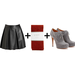 Every girl should have a leather miniskirt in her arsenal. Spice it up for Winter with red tights and gray lace-up booties.