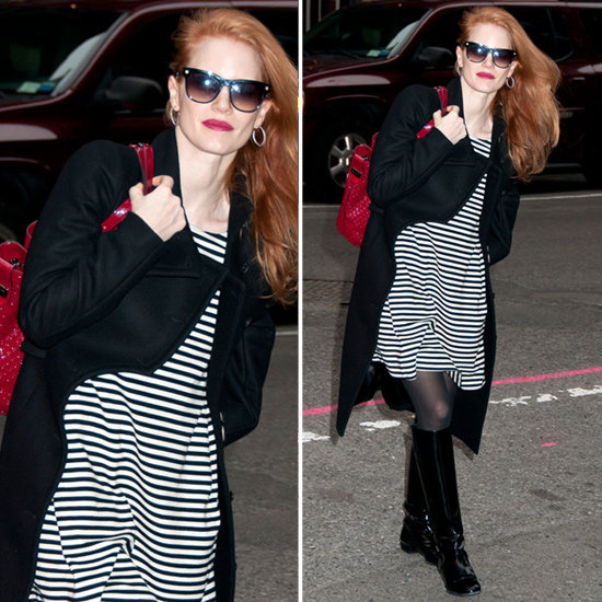 Channel Jessica Chastain's chic black-and-white ensemble finished with a well-placed pop of red.