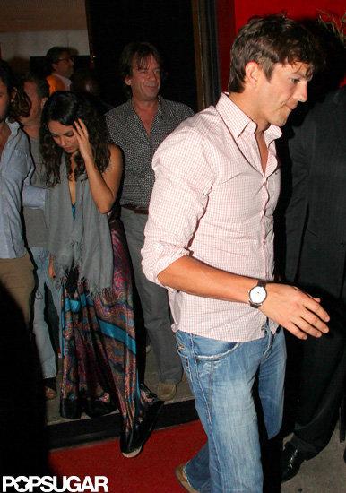 Ashton Kutcher left a dinner date with Mila Kunis in Brazil.
