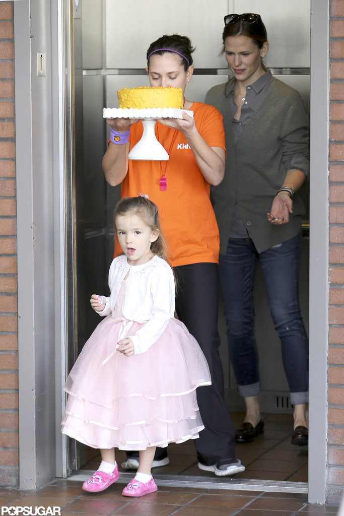 Jennifer Garner and Seraphina Affleck accompanied her birthday cake into the party.