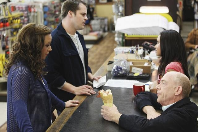 Lea Remini, Kyle Bornheimer, Danielle Nicolet, and J.K. Simmons in Family Tools.