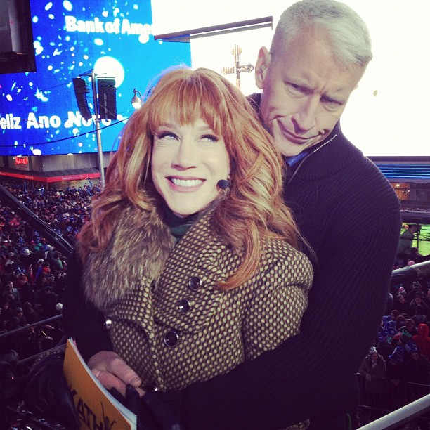 Kathy Griffin and Anderson Cooper got cozy while hosting the New Year's Eve countdown on CNN. Source: Instagram user kathygriffin