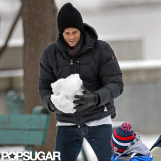 Tom Brady and Sons Have a Snow Fight in Boston