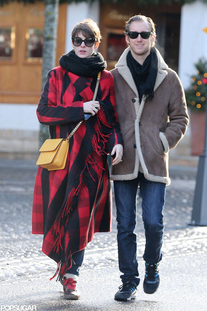 Anne Hathaway and Adam Shulman walked around Switzerland together.