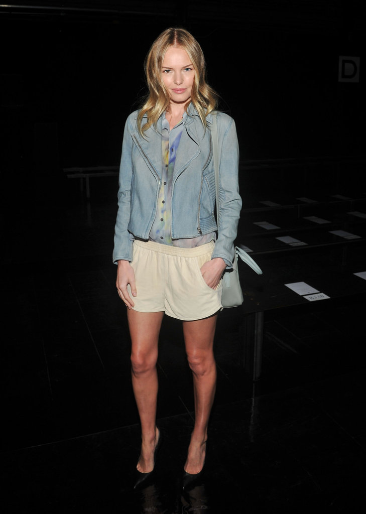 Kate looked simple and chic in a denim jacket and taupe short shorts at the Theyskens' Theory runway show in September 2012.