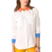 Equipment's colorblock blouse ($228) is a modern take on the classic silky button-down. We dig orange and blue together.
