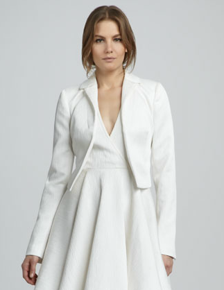 This Rachel Zoe white cropped jacket ($275) can go from Winter to Summer quite seamlessly. Wear it with layers now and over a flirty floral dress when the weather warms up.