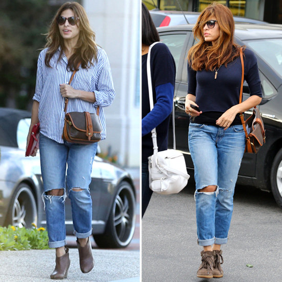 eva mendes wearing boyfriend jeans 2013 popsugar fashion