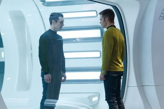 Benedict Cumberbatch and Chris Pine in Star Trek Into Darkness.