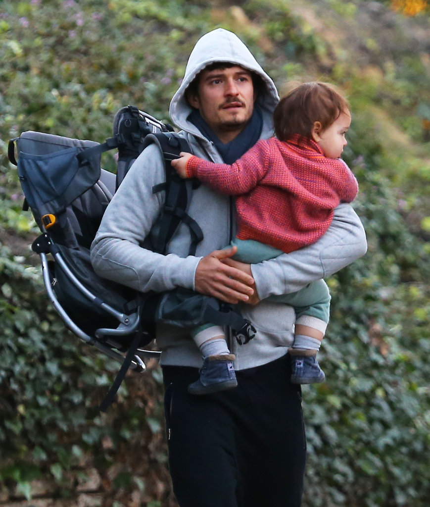 Orlando Bloom carried Flynn Bloom during a stroll.