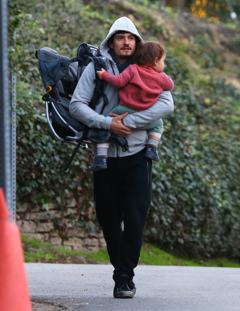 Orlando Bloom held on tight to Flynn Bloom.