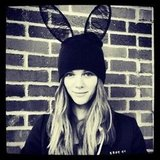 Brooklyn Decker wore lace bunny ears (on top of her black beanie). Source: Twitter user BrooklynDecker
