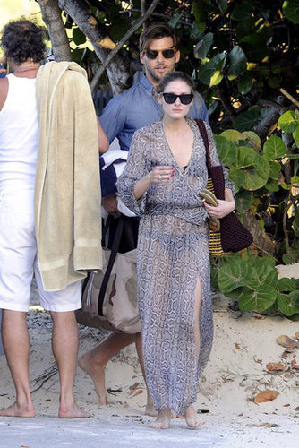 Olivia Palermo covered up effortlessly in a breezy Marie France Van Damme Cache-Coeur caftan ($439) while heading to the beach in St. Barts with her beau.
