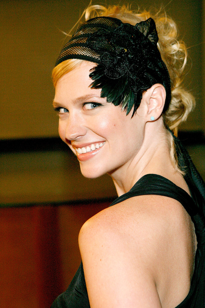 January showed off her modern style with a major headpiece that featured feathers, mesh, and a flower at the Mad Men season-two wrap party back in 2008.