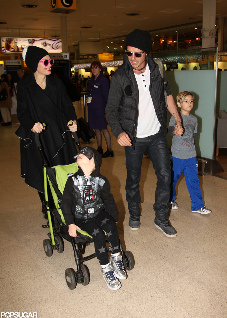Gwen Stefani and Gavin Rossdale made their way through the London airport with their boys.