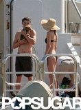Orlando Bloom vacationed with Miranda Kerr on Harvey Weinstein's yacht docked off the coast of St. Barts in January 2010.